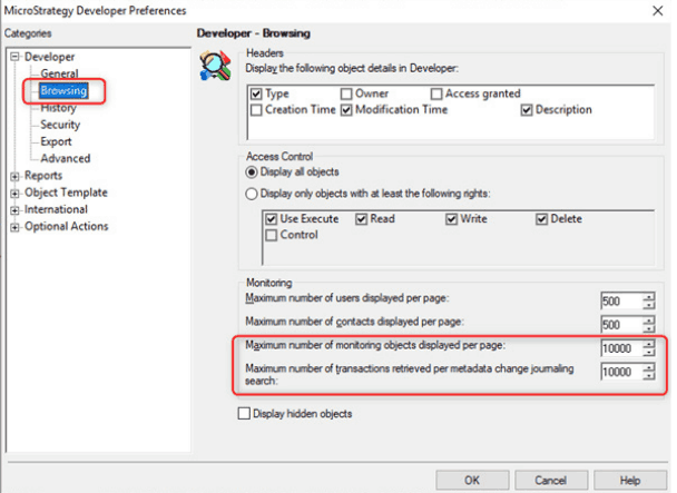 Microstrategy Developer Browsing