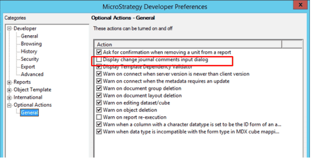 Microstrategy Developer Preference