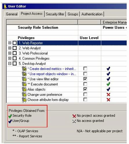 Security Role Selection